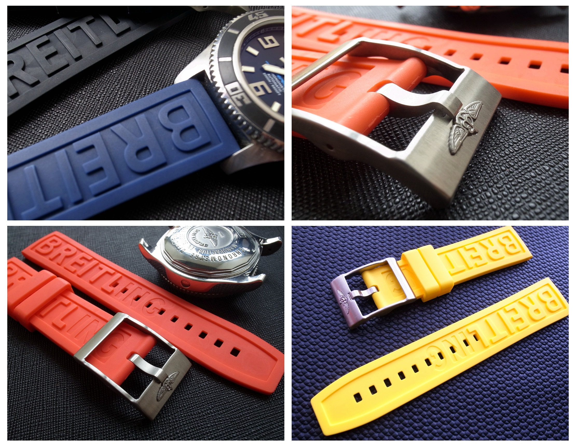 22mm Rubber Strap for Breitling Watch with Buckle