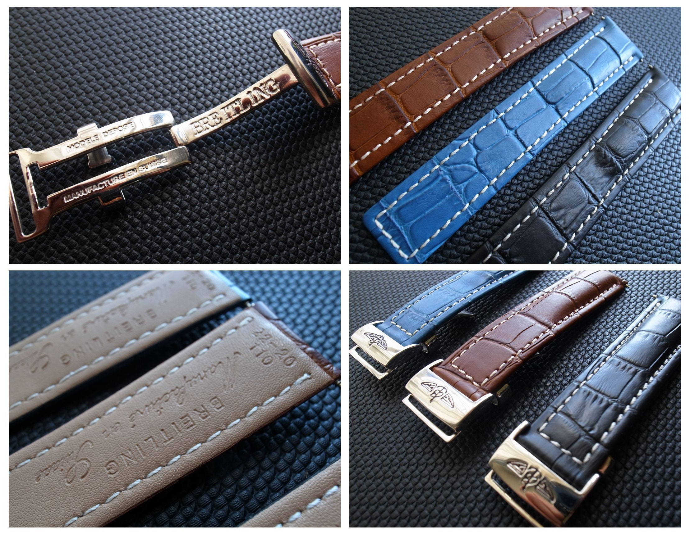 22mm Leather Strap for Breitling Watch with Deployment Clasp Buckle