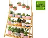 3 ladder -Bamboo Multi Tier Plant Stand Flower Rack Shelf Outdoor Indoor Garden Corner Wood Stand