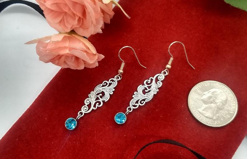 March Birthstone Filigree Handmade Earrings