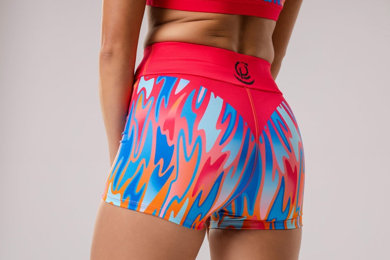 Shorts for women girl plus size with poket warmers print fitness apparel art designs pole  dance Sport Shorts Flame of Water Fitness,