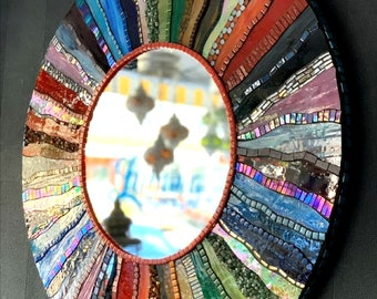 Round Mosaic Mirror-Rainbow Mosaic Mirror -Mosaic Design-Wall Decoration Mosaic Mirror-Wall Mirror-Style Mirror