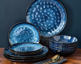 Dinner Service - 12 Pieces - Beautiful Blue - Irregular Pottery Design