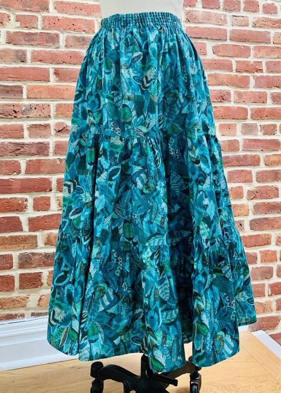 Vintage Tiered Novelty Print Midi Skirt
