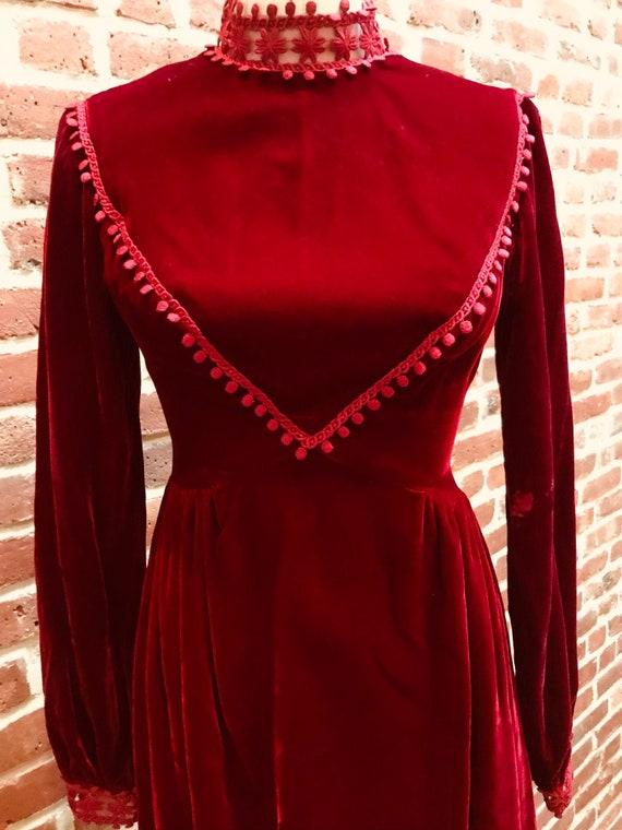 Vintage Red Velvet Maxi Dress.