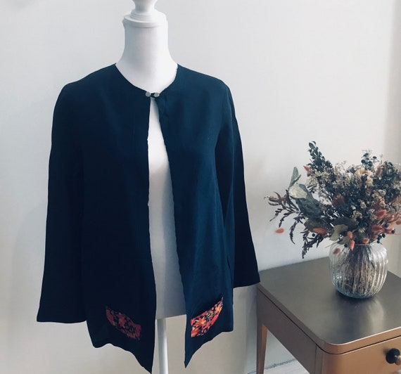 Vintage 1920's-30's navy rayon jacket