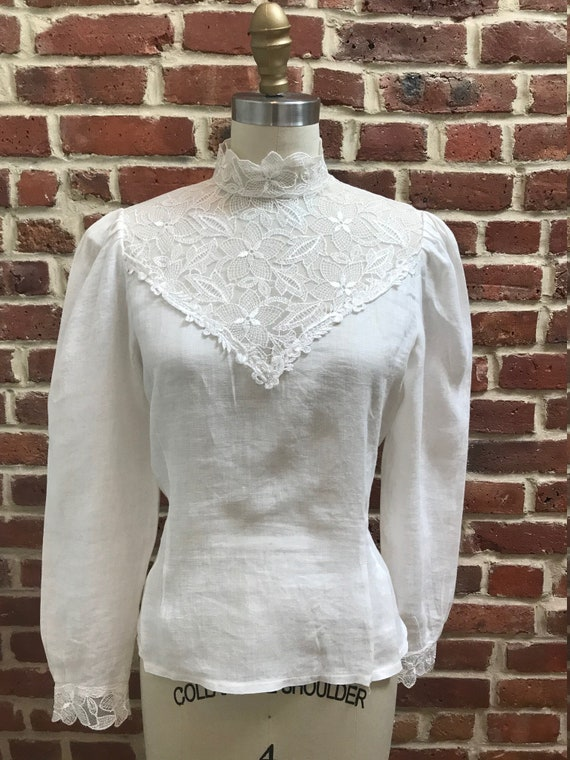 1980's Linen and Lace High Neck Blouse