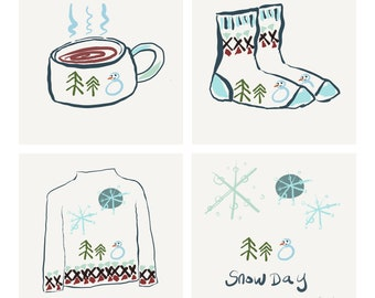 Greeting Card Stay Cozy Wear Snow Jumpers by Celia Barradell