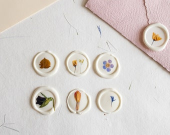 Pressed flower Seals Stickers, Self Adhesive Wax Seals, flower Wax Seals, Invitation Wax Seals, Wedding Wax Seal Stickers