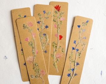 pressed flower bookmark Cornflower, Kraft paper, handmade bookmark, gift, dried flower, fleur séchée , marque page
