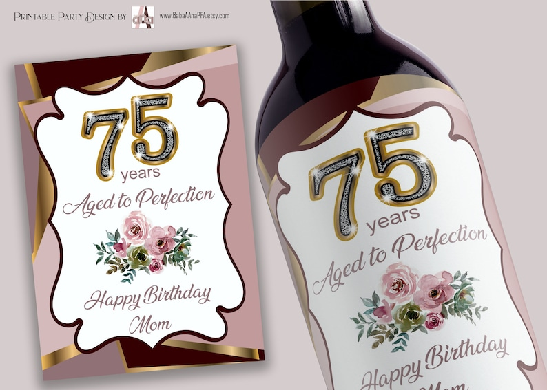 75 years Aged to Perfection  Birthday Wine Labels image 2