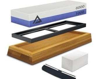 1000 Grit Whetstone Knife Sharpener 1000/6000 Grit Sharpener Stone - Whetstone Sharpening Set for Kitchen Knives, Chisel with Non-Slip