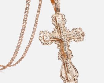 Orthodox 14k Gold 585 Reliquary Crucifix \u0421ross \u0421rucifixion Reliquary Amulet Protective Amulet Pendant Religious Pendant Orthodox pendant