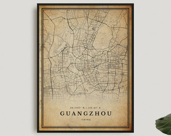 Guangzhou Vintage Map Poster Wall Art Antique China prints gift City Artwork Print M680 old style Home Decor rustic