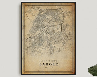 Lahore Vintage Map Print, Lahore Retro Map Poster, Antique Style Map,Pakistan, Office Wall Art, Housewarming Birthday Gift   VW136