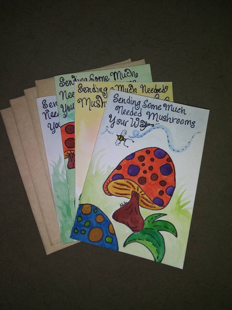 Hand Painted Happy Colorful Mushroom Note Cards