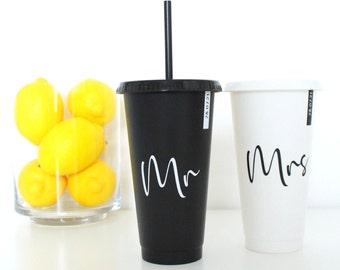 Personalised Wedding Present Gift Tumbler Cold Cup UK | Honeymoon | Bride | Customised | Mr Mr Mrs Mrs | Anniversary | Groom | LGBTQ Couples