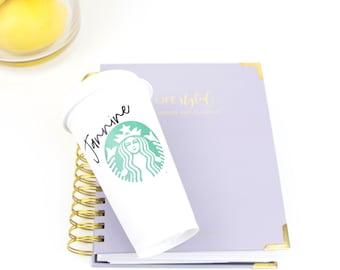 Starbucks Reusable Hot Coffee Cup UK | Personalise | Birthday Present | Travel Friend | Custom | Gift | Iced | Diet | Lockdown | Easter Egg