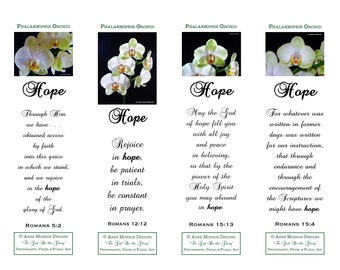 """Scripture Bookmarks - Bible Verses about HOPE - 4 bookmarks with """"Orchid"""" images and 4 different verses"""