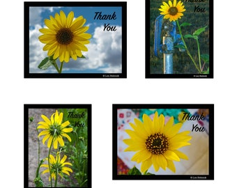 """Note Cards - """"Thank You"""" - Sunflower Collection #1 - 8 cards - Blank Inside"""