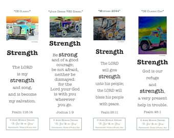"""Scripture Bookmarks - Bible Verses about STRENGTH - 4 bookmarks with """"Truck & Tractor"""" images and 4 different verses"""