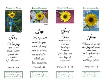 """Scripture Bookmarks - Bible Verses about JOY - 4 bookmarks with """"Sunflower"""" images and 4 different verses"""