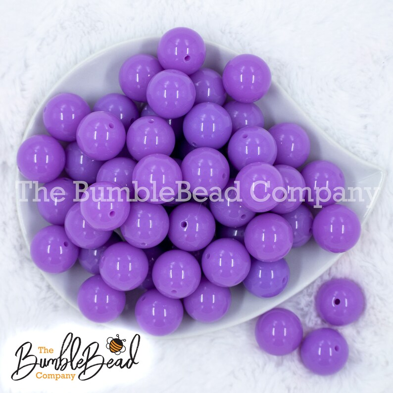 Acrylic Gumball Beads in Bulk 20mm Shiny Chunky Beads 20MM Amethyst Purple Solid Chunky Bubblegum Beads 20mm Bubble Gum Beads