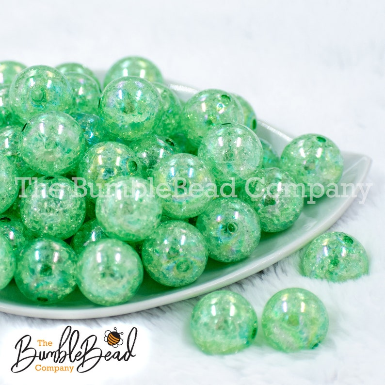20mm Beads Acrylic Beads in Bulk 20mm Shiny Chunky Beads 20mm Bubble Gum Beads 20MM Winter Green Crackle AB Bubblegum Bead