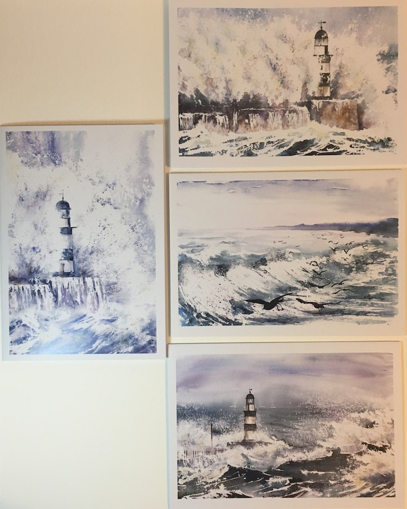 Pack of Four Greetings Cards High Seas