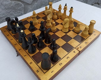 Soviet Chess Set, Unique Old Сarbolite Chess Sets Ussr, Vintage Russian Game