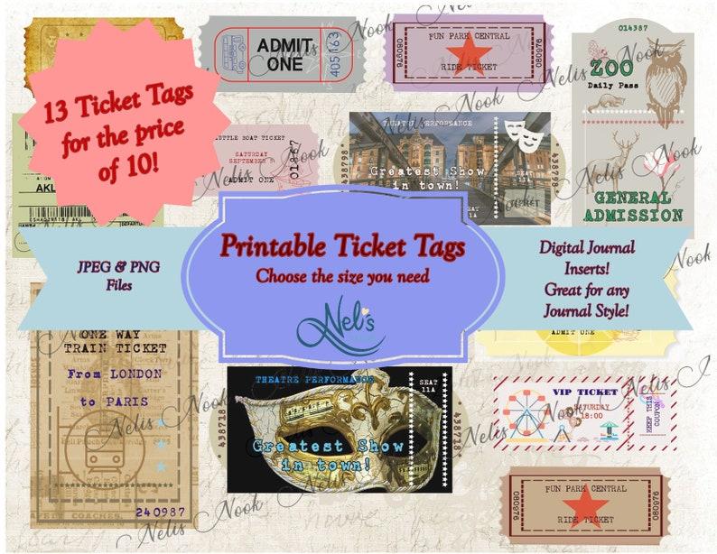 Printable Ticket Tags Digital Tags Ephemera Journal image 0