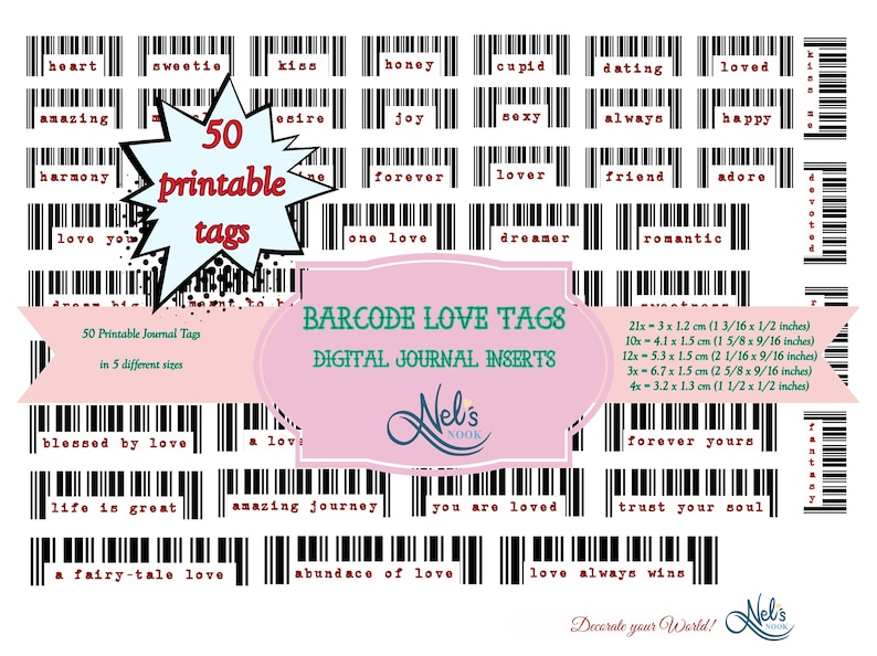 Barcodes Love Tags Digital Tags Ephemera Journal image 0