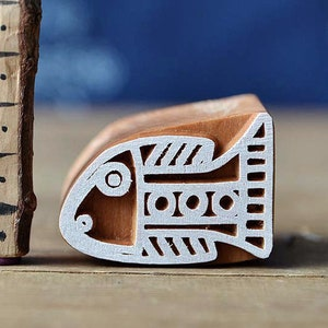 Textile Leather Fish Wooden Stamp For Block Printing Pottery Cards Print Making Gift Idea. Handmade Ethnic Crafts