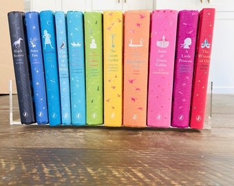 PUFFIN CLASSICS HARDCOVER Rainbow Children's Book Set U.K Deluxe Collection.Penguin Children's Classic 11 Patterned Clothbound Look Rare Set
