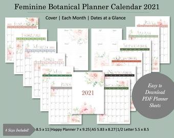 Feminine Botanical Printable Calendar