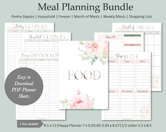 Feminine Botanical Meal Planner, Daily Monthly Meal Planner, Meal Planner Printable, Menu Planner Letter,  A5, half-letter, happy planner
