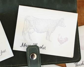 Printable Downloadable Vintage Look Thank Yous | Homestead Farm Theme | Farmhouse Thank You Cards | Blank Printable Thank You Cards |
