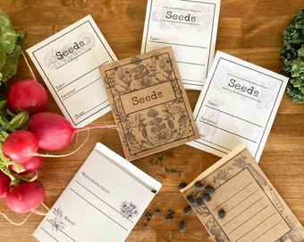 Seed Packets Printable Downloadable Vintage Look | Homestead Garden | Garden Party Favors | Seed Envelope