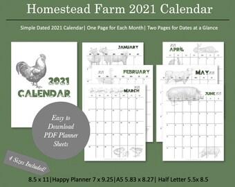 Homestead Farm Theme Printable Calendar