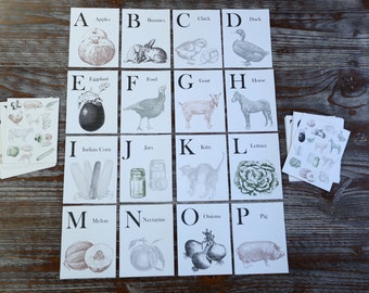 Printable Downloadable Vintage Look Flashcards | Homestead Farm Theme | Farmhouse Nursery Decor | Minimalist Homeshool |