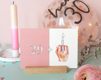 """Postcard """"happy 30"""", birthday card for the 30th birthday, greeting card for the 30th, stinkfinger card"""