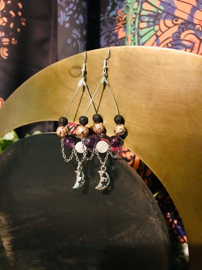 Gorgeous Handmade Fair Trade Amethyst /& Selenite Crystal Earrings with looped chain link and cutout moon charms.