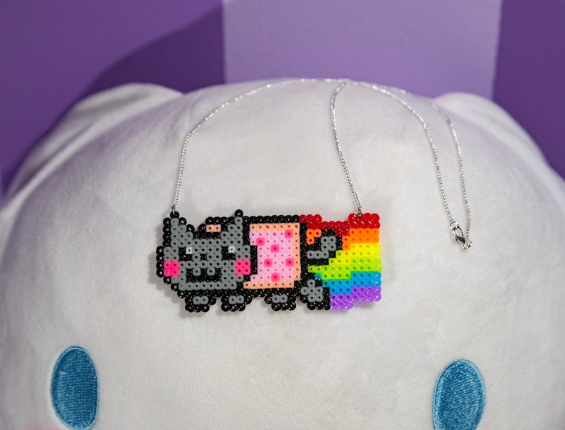 Nyan Cat 8bit Necklace with Silver Plated Delicate Chain Perler Beads Pixel Art