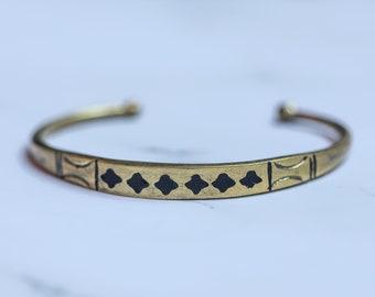 boyfriend girlfriend gift Thin lightweight adjustable unisex brass bracelet Boho chic stacking cuff vintage triable berber inspired