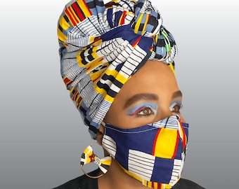 Honor - African Print Head Wrap/Scarf Mask Earring Set   White Blue Yellow color - African clothing Attire - Africa black queen Turban