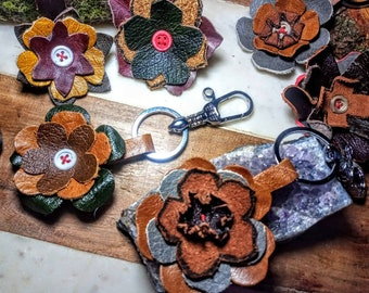 Leather bag charm , purse charm keyring flower charm gifts for her leather accessories valentine's birthday