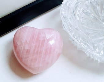 Rose Quartz Puff Heart - Rose Quartz Heart Palm Stone - Large, 45mm size - Polished Rose Quartz - Unconditional Love - Beautiful Gift.