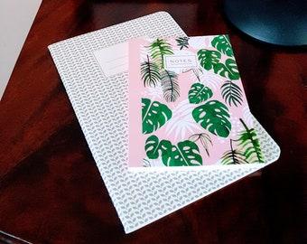 Beautiful Notebooks (set of 2) - Notepad - Tropical Palms - Grey Pattern - Stationery - Pretty - Gift.