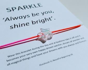 SPARKLE Dream Kids Bracelet -  acrylic star - rainbow elastic cord - handmade by Beautiful Beginning UK