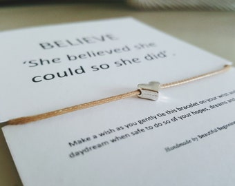 BELIEVE Wish Bracelet -  silver-plated heart - sand waxed cord - handmade by Beautiful Beginning UK